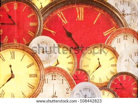 Many vintage clocks filling background with a grunge overlay - stock photo
