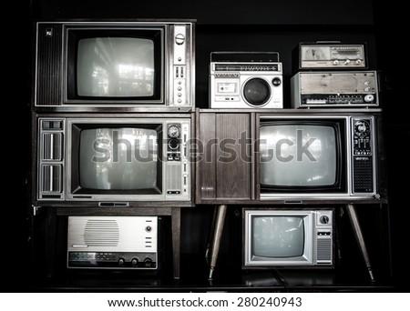 many vintage television and radio - stock photo