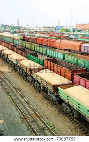 Many wagons on city cargo terminal - stock photo