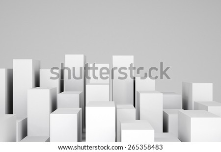 Many white cubes on gray background. Cropped image. Concept of urban construction - stock photo