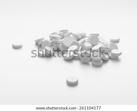 Many white drugs, supplement pills. Background or texture - stock photo