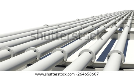 Many white industrial pipes with flanges and supports. Isolated on white background - stock photo