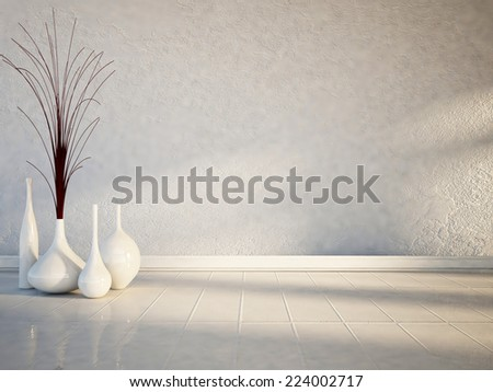 many white vases on the white floor - stock photo