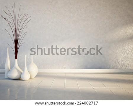 many white vases on the white floor - stock photo