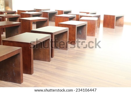 many wood chair in room - stock photo
