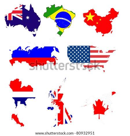 Many world map with flag symbol. - stock photo