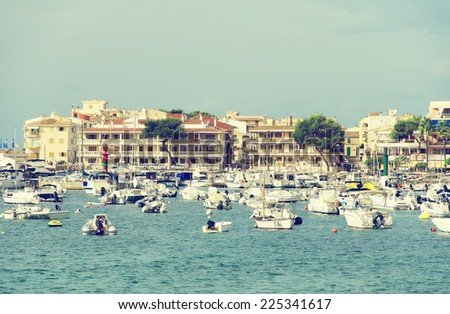 Many yachts in the bay at anchor. - stock photo