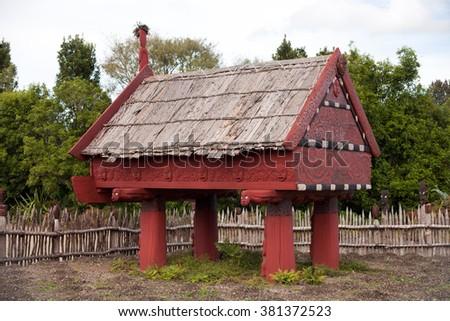 Maori house - stock photo