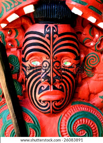 Maori Warrior Carving, New Zealand - stock photo