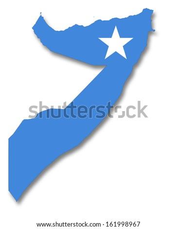 Map and flag of Somalia - stock photo