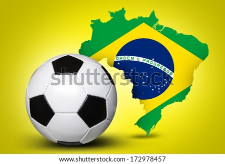 Map and Soccer ball of Brazil 2014 on yellow background - stock photo