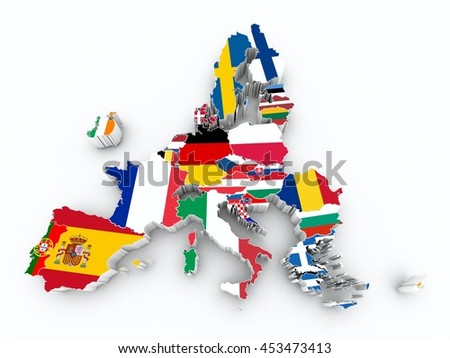 map europe union after brexit state flags on white isolated - stock photo