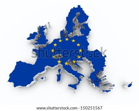 map europe union flag on white isolated - stock photo