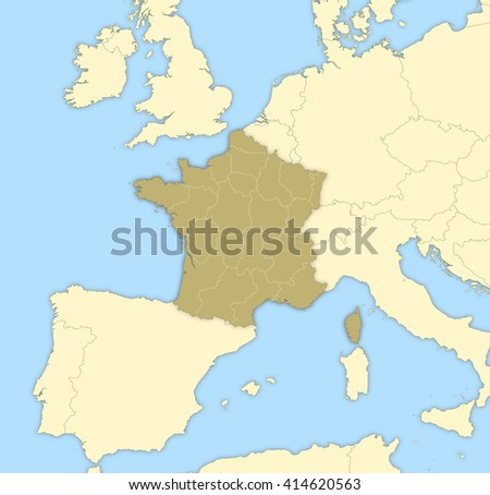 Map - France - stock photo