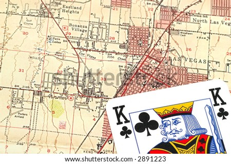 map from las vegas and poker card - stock photo