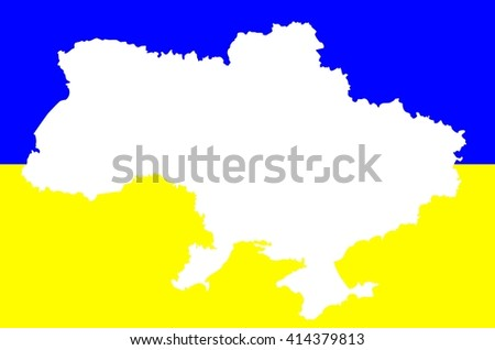 Map geographical territory outline and flag of country Ukraine. White. - stock photo