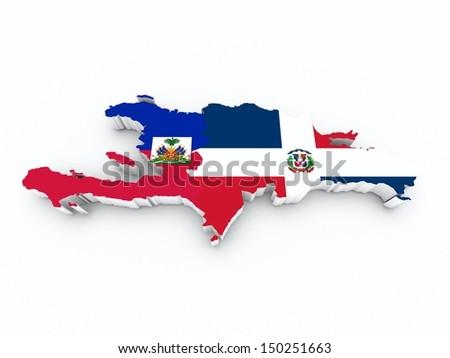 map hispaniola on white isolated - stock photo