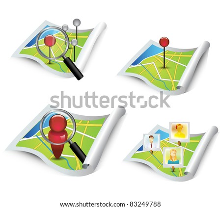 Map icon - stock photo
