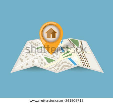 map icon with pointer on blue background - stock photo