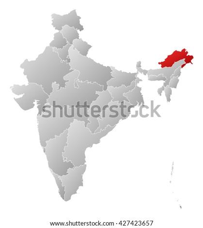 Map - India, Arunachal Pradesh - stock photo