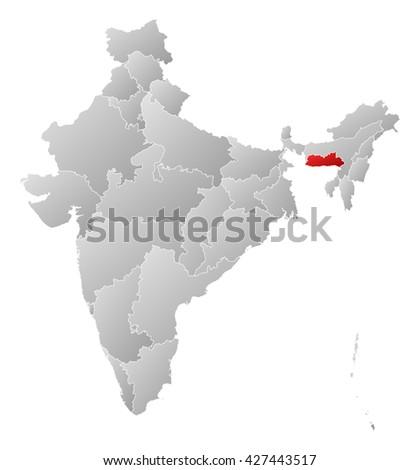 Map - India, Meghalaya - stock photo