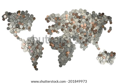 Map made of coins isolated on white background - stock photo