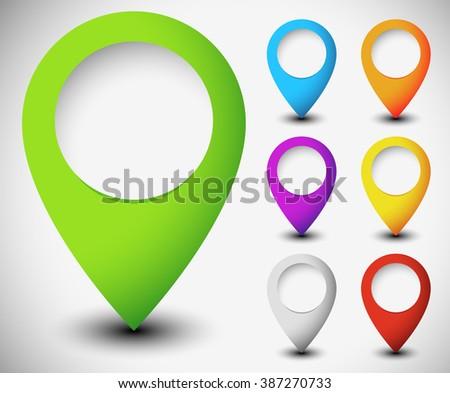 Map marker, map pin set with blank circle. - stock photo