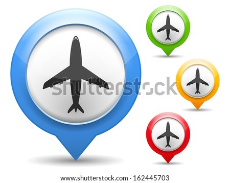 Map marker with icon of airplane - stock photo
