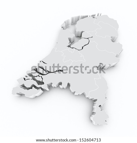map netherlands with province borders on white isolated  - stock photo