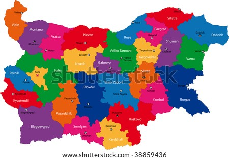 Map of administrative divisions of Bulgaria - stock photo
