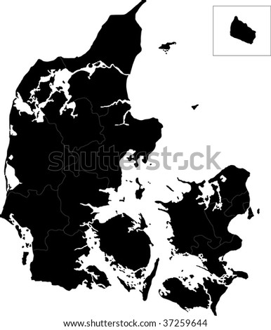 Map of administrative divisions of Denmark - stock photo