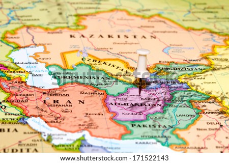 Map of Afghanistan with a white pushpin stuck - stock photo