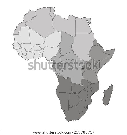 Map of Africa with division into regions - stock photo