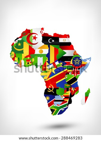 Map of Africa with flags and location on world map. Raster version. - stock photo