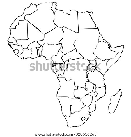 map of african continent with black outline on white background with internal borders - stock photo