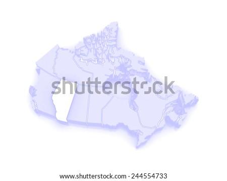 Map of Alberta. Canada. 3d - stock photo