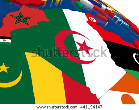 Map of Algeria with embedded flags on 3D political map. Accurate official colors of flags. 3D illustration - stock photo