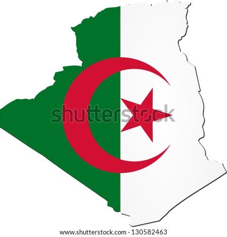 Map of Algeria with national flag isolated on white background (raster illustration) - stock photo