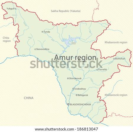 Map of Amur region, Russia - stock photo