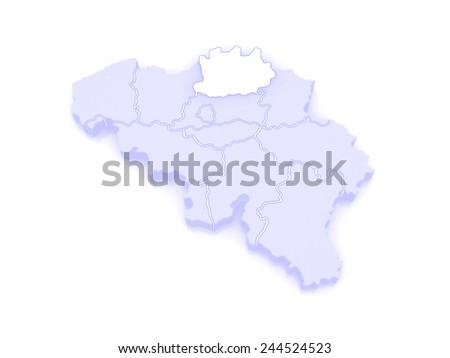 Map of Antwerp. Belgium. 3d - stock photo