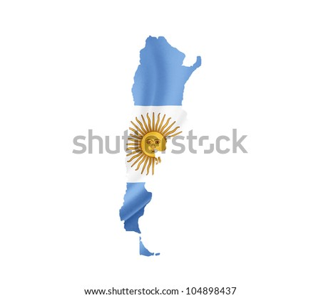 Map of Argentina with waving flag isolated on white - stock photo