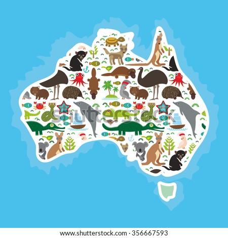map of Australia. Echidna Platypus ostrich Emu Tasmanian devil Cockatoo parrot Wombat snake turtle crocodile kangaroo dingo octopus fish.  - stock photo