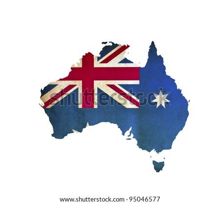 Map of Australia isolated - stock photo