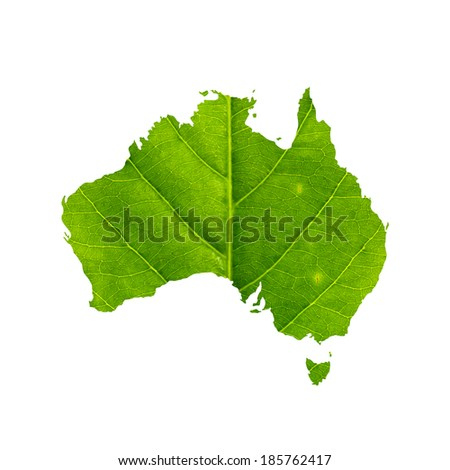 Map of Australia made of green leaf with clipping path, isolated on white background. - stock photo