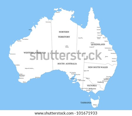 Map of Australia with cities - stock photo