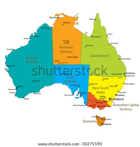 Map Of Australia with major Towns and Cities- Each state in its own group- Vector is available in my profile - stock photo
