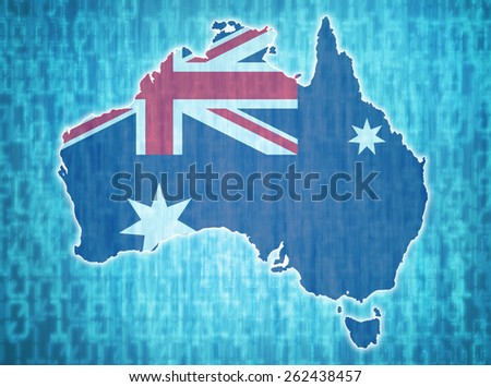 map of australia with national flag over digital background - stock photo