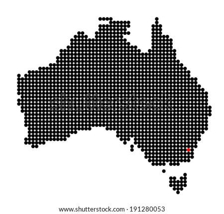 Map of Australia with stylized map of Australian Capital Territory made from red and black dots - stock photo