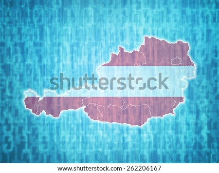 map of austria with administrative divisions over digital background - stock photo