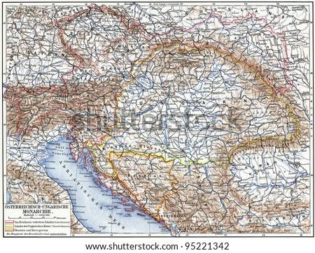 "Map of Austro-Hungarian monarchy. Publication of the book ""Meyers Konversations-Lexikon"", Volume 7, Leipzig, Germany, 1910 - stock photo"